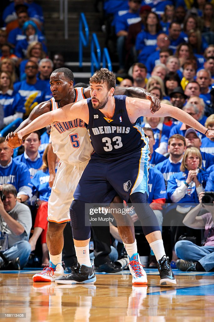 Marc Gasol #33 of the Memphis Grizzlies fights for position against Kendrick Perkins #5 of the Oklahoma City Thunder in Game One of the Western Conference Semifinals during the 2013 NBA Playoffs on May 5, 2013 at the Chesapeake Energy Arena in Oklahoma City, Oklahoma.