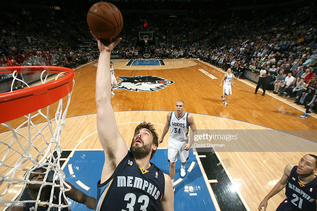 Marc Gasol #33 of the Memphis Grizzlies goes to the basket during the game between the Memphis Grizzlies and the Minnesota Timberwolves on March 30, 2013 at Target Center in Minneapolis, Minnesota.