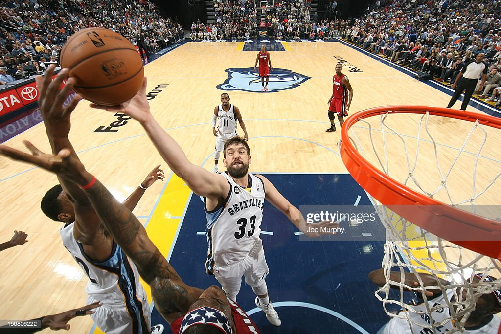 <a gi-track='captionPersonalityLinkClicked' href=/galleries/search?phrase=Marc+Gasol&family=editorial&specificpeople=661205 ng-click='$event.stopPropagation()'>Marc Gasol</a> #33 of the Memphis Grizzlies goes up for a rebound against the Miami Heat on November 11, 2012 at FedExForum in Memphis, Tennessee.