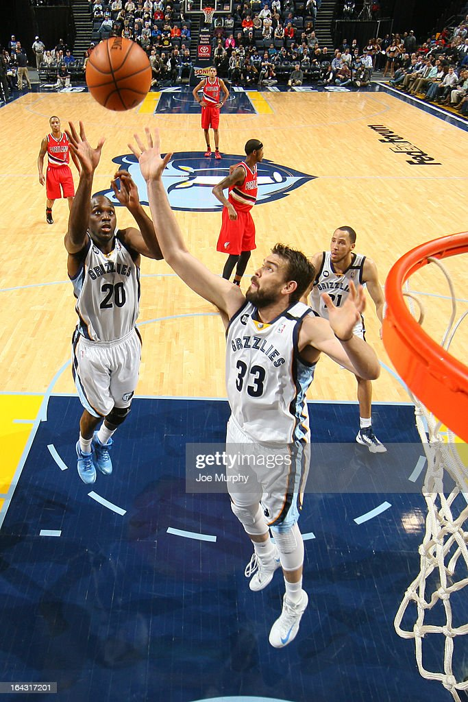 Marc Gasol #33 of the Memphis Grizzlies goes up for a rebound against the Portland Trail Blazers on March 6, 2013 at FedExForum in Memphis, Tennessee.