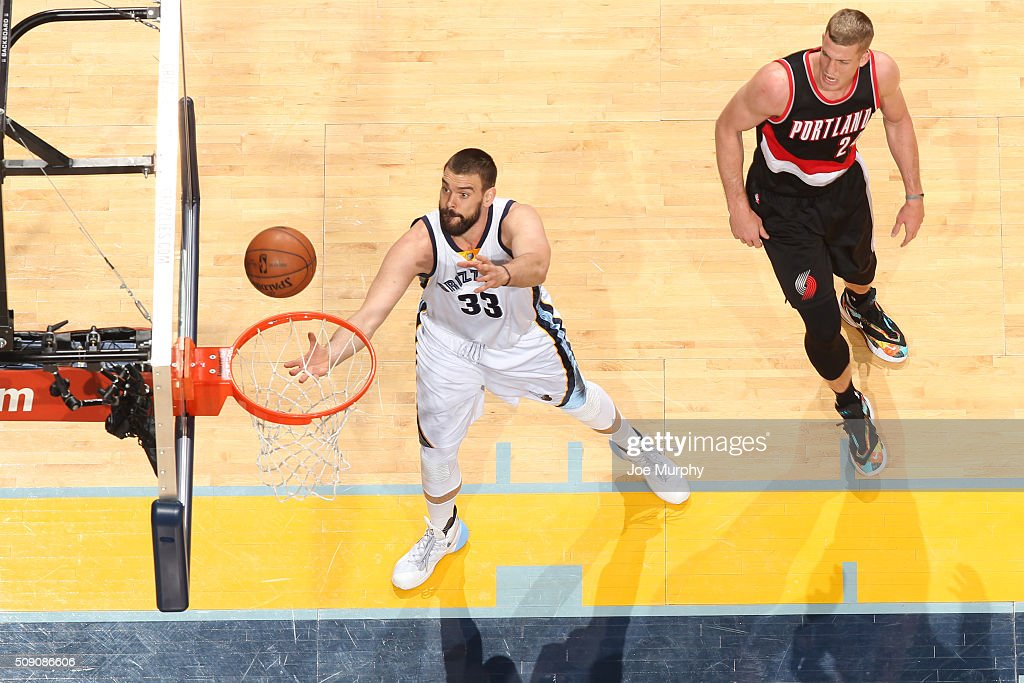 <a gi-track='captionPersonalityLinkClicked' href=/galleries/search?phrase=Marc+Gasol&family=editorial&specificpeople=661205 ng-click='$event.stopPropagation()'>Marc Gasol</a> #33 of the Memphis Grizzlies goes up for a rebound against the Portland Trail Blazers on February 8, 2016 at FedExForum in Memphis, Tennessee.