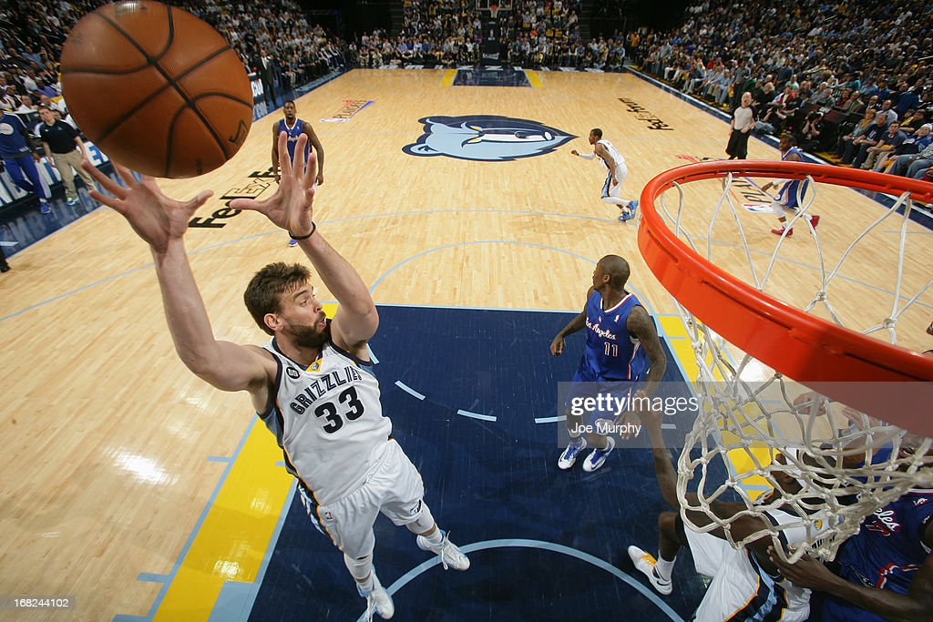 <a gi-track='captionPersonalityLinkClicked' href=/galleries/search?phrase=Marc+Gasol&family=editorial&specificpeople=661205 ng-click='$event.stopPropagation()'>Marc Gasol</a> #33 of the Memphis Grizzlies grabs the rebound against the Los Angeles Clippers in Game Six of the Western Conference Quarterfinals during the 2013 NBA Playoffs on May 3, 2013 at FedExForum in Memphis, Tennessee.