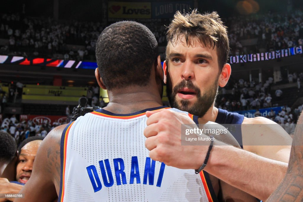 Marc Gasol #33 of the Memphis Grizzlies greets Kevin Durant #35 of the Oklahoma City Thunder following his team's series win against the Thunder in Game Five of the Western Conference Semifinals during the 2013 NBA Playoffs on May 15, 2013 at the Chesapeake Energy Arena in Oklahoma City, Oklahoma.