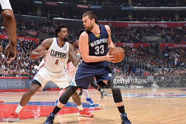 Marc Gasol of the Memphis Grizzlies handles the ball against the Los Angeles Clippers during the game on November 9 2015 at STAPLES Center in Los...