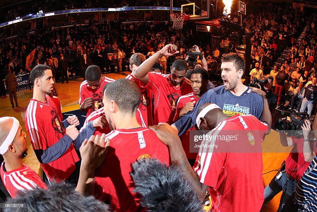 <a gi-track='captionPersonalityLinkClicked' href=/galleries/search?phrase=Marc+Gasol&family=editorial&specificpeople=661205 ng-click='$event.stopPropagation()'>Marc Gasol</a> #33 of the Memphis Grizzlies huddles with his team before the game against the Golden State Warriors on February 8, 2013 at FedExForum in Memphis, Tennessee.