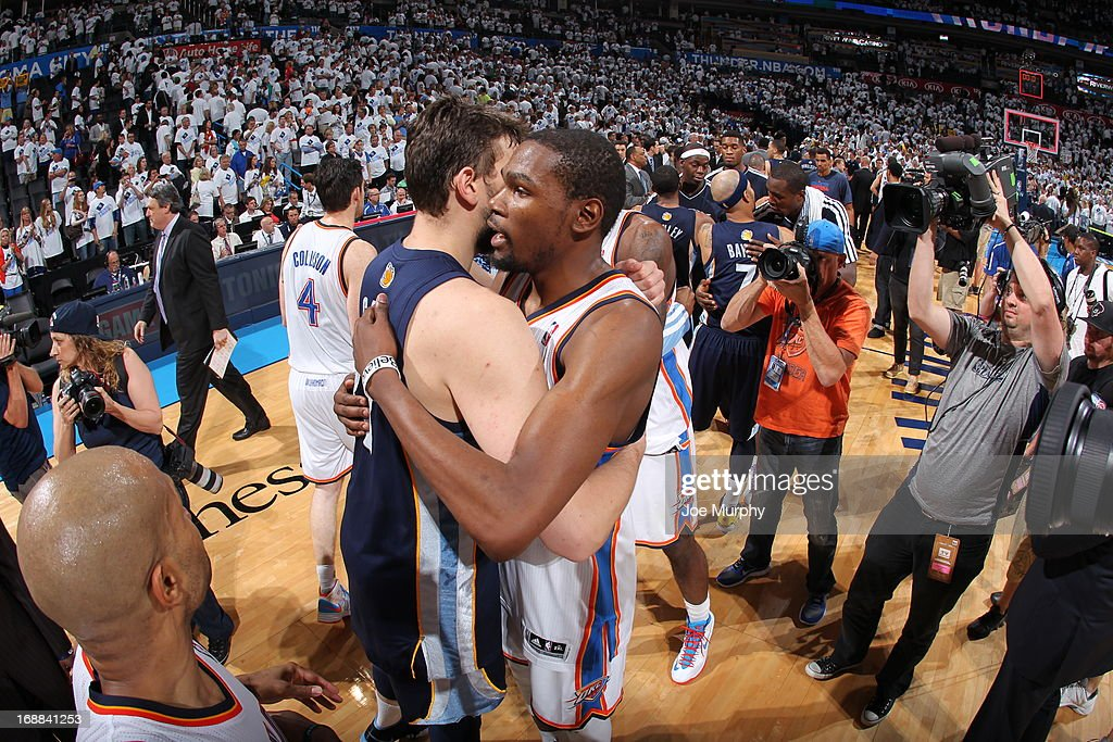 Marc Gasol #33 of the Memphis Grizzlies hugs Kevin Durant #35 of the Oklahoma City Thunder after Game Five of the Western Conference Semifinals during the 2013 NBA Playoffs on May 15, 2013 at the Chesapeake Energy Arena in Oklahoma City, Oklahoma.