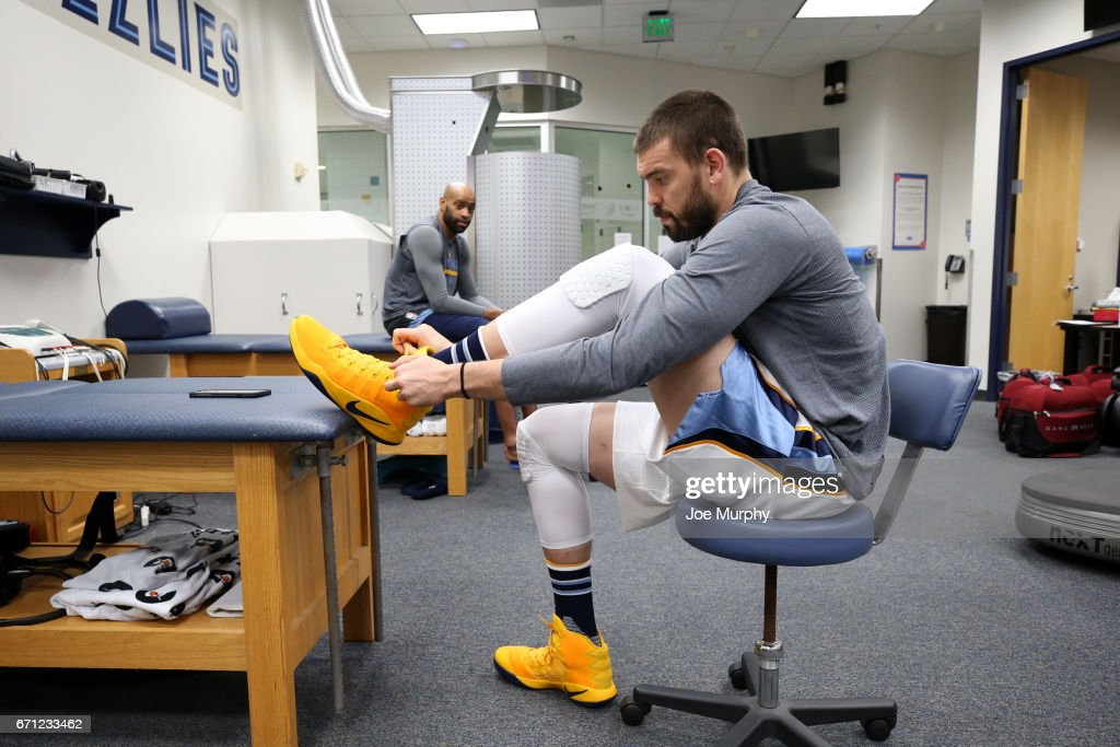 Marc Gasol #33 of the Memphis Grizzlies in the prepares before the game against the San Antonio Spurs during Game Three of the Western Conference Quarterfinals of the 2017 NBA Playoffs on April 20, 2017 at FedExForum in Memphis, Tennessee.