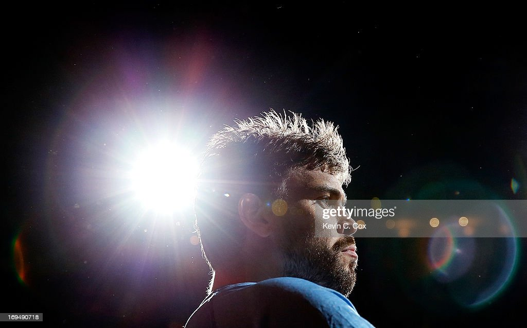 <a gi-track='captionPersonalityLinkClicked' href=/galleries/search?phrase=Marc+Gasol&family=editorial&specificpeople=661205 ng-click='$event.stopPropagation()'>Marc Gasol</a> #33 of the Memphis Grizzlies looks on before taking on the San Antonio Spurs during Game Three of the Western Conference Finals of the 2013 NBA Playoffs at the FedExForum on May 25, 2013 in Memphis, Tennessee.