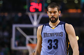 Marc Gasol of the Memphis Grizzlies looks on during the fourth quarter against the Boston Celtics at TD Garden on March 11 2015 in Boston...