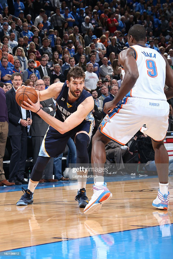 <a gi-track='captionPersonalityLinkClicked' href=/galleries/search?phrase=Marc+Gasol&family=editorial&specificpeople=661205 ng-click='$event.stopPropagation()'>Marc Gasol</a> #33 of the Memphis Grizzlies looks to drive to the basket against the Oklahoma City Thunder on January 31, 2013 at the Chesapeake Energy Arena in Oklahoma City, Oklahoma.