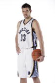Marc Gasol of the Memphis Grizzlies poses for a portrait during NBA Media Day on September 28 2009 at the FedExForum in Memphis Tennessee NOTE TO...