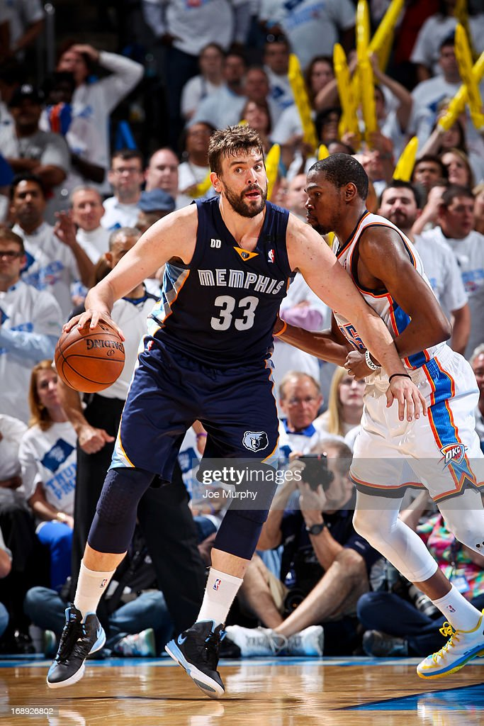 Marc Gasol #33 of the Memphis Grizzlies posts-up against Kevin Durant #35 of the Oklahoma City Thunder in Game Five of the Western Conference Semifinals during the 2013 NBA Playoffs on May 15, 2013 at the Chesapeake Energy Arena in Oklahoma City, Oklahoma.