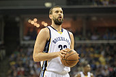 Marc Gasol of the Memphis Grizzlies prepares to shoot a free throw against the Golden State Warriors during Game three of the Western Conference...