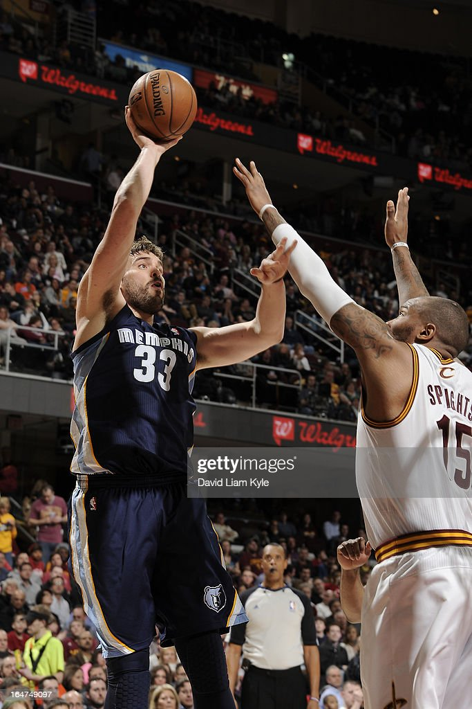<a gi-track='captionPersonalityLinkClicked' href=/galleries/search?phrase=Marc+Gasol&family=editorial&specificpeople=661205 ng-click='$event.stopPropagation()'>Marc Gasol</a> #33 of the Memphis Grizzlies puts up a shot against the Cleveland Cavaliers at The Quicken Loans Arena on March 8, 2013 in Cleveland, Ohio.