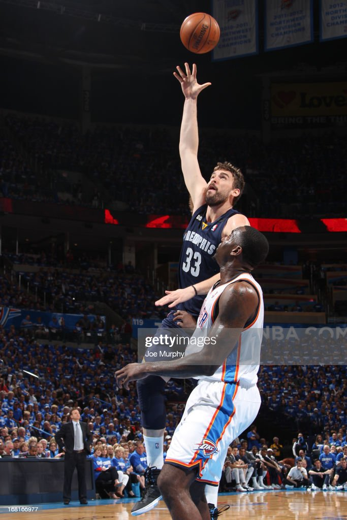Marc Gasol #33 of the Memphis Grizzlies puts up a shot against the Oklahoma City Thunder in Game One of the Western Conference Semifinals during the 2013 NBA Playoffs on May 5, 2013 at the Chesapeake Energy Arena in Oklahoma City, Oklahoma.