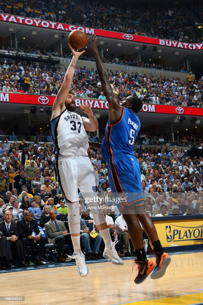<a gi-track='captionPersonalityLinkClicked' href=/galleries/search?phrase=Marc+Gasol&family=editorial&specificpeople=661205 ng-click='$event.stopPropagation()'>Marc Gasol</a> #33 of the Memphis Grizzlies puts up a shot against the Oklahoma City Thunder in Game Three of the Western Conference Semifinals during the 2013 NBA Playoffs on May 11, 2013 at FedExForum in Memphis, Tennessee.