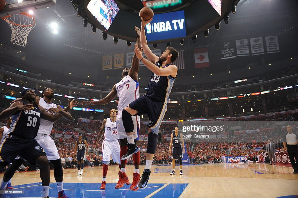 Marc Gasol #33 of the Memphis Grizzlies puts up a shot against the Los Angeles Clippers at Staples Center in Game Five of the Western Conference Quarterfinals during the 2013 NBA Playoffs on April 30, 2013 in Los Angeles, California.