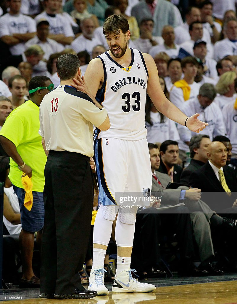 Marc Gasol #33 of the Memphis Grizzlies questions official Monty McCuthcen #13 against the Los Angeles Clippers in Game Seven of the Western Conference Quarterfinals in the 2012 NBA Playoffs at FedExForum on May 13, 2012 in Memphis, Tennessee.