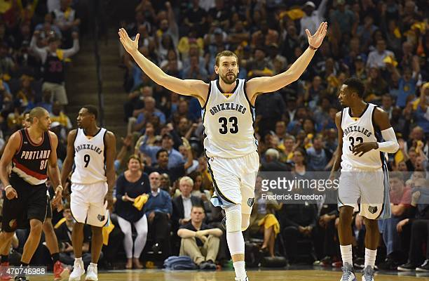 Marc Gasol of the Memphis Grizzlies reacts after making a basket against the Portland Trailblazers during the first quarter of Game Two of the first...