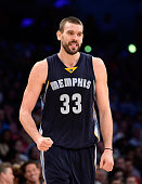 Marc Gasol of the Memphis Grizzlies reacts to a Los Angeles Lakers foul during a during a 9993 Grizzlies win at Staples Center on November 26 2014 in...