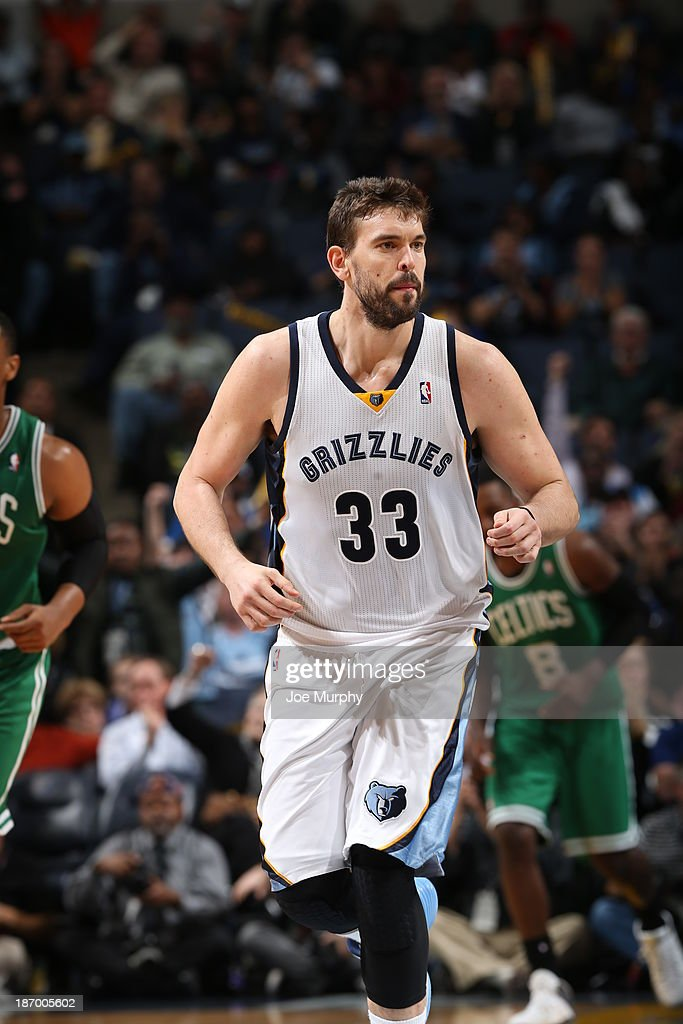 <a gi-track='captionPersonalityLinkClicked' href=/galleries/search?phrase=Marc+Gasol&family=editorial&specificpeople=661205 ng-click='$event.stopPropagation()'>Marc Gasol</a> #33 of the Memphis Grizzlies runs up court against the Boston Celtics on November 4, 2013 at FedExForum in Memphis, Tennessee.