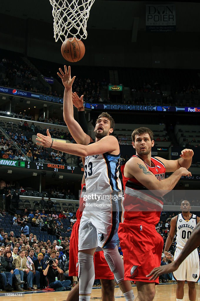 Marc Gasol #33 of the Memphis Grizzlies shoots against Joel Freeland #19 of the Portland Trail Blazers on January 4, 2013 at FedExForum in Memphis, Tennessee.
