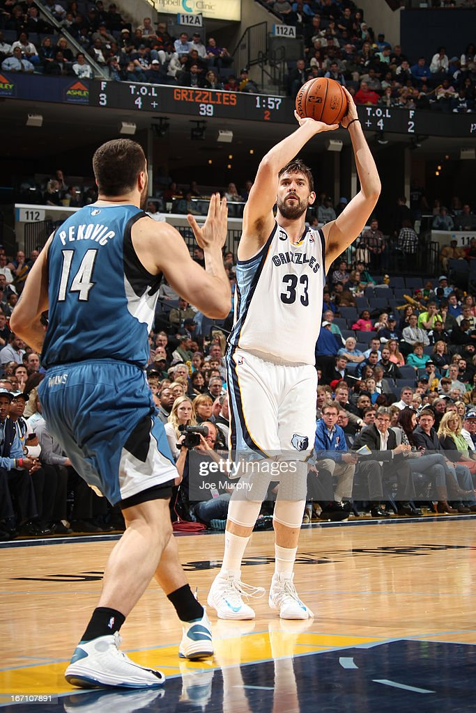 <a gi-track='captionPersonalityLinkClicked' href=/galleries/search?phrase=Marc+Gasol&family=editorial&specificpeople=661205 ng-click='$event.stopPropagation()'>Marc Gasol</a> #33 of the Memphis Grizzlies shoots against <a gi-track='captionPersonalityLinkClicked' href=/galleries/search?phrase=Nikola+Pekovic&family=editorial&specificpeople=829137 ng-click='$event.stopPropagation()'>Nikola Pekovic</a> #14 of the Minnesota Timberwolves on March 18, 2013 at FedExForum in Memphis, Tennessee.