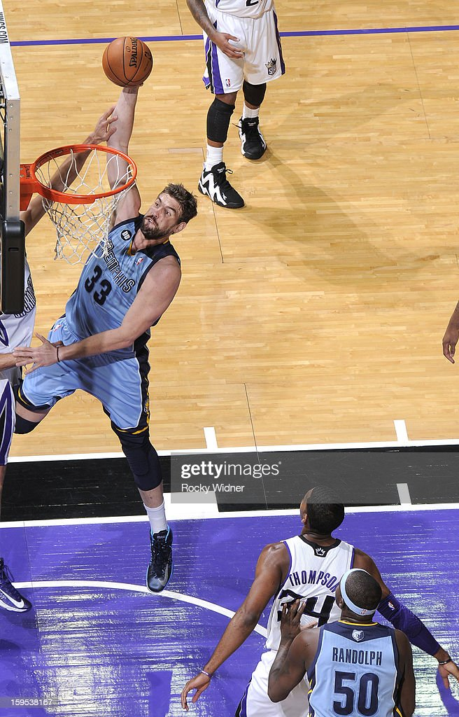 <a gi-track='captionPersonalityLinkClicked' href=/galleries/search?phrase=Marc+Gasol&family=editorial&specificpeople=661205 ng-click='$event.stopPropagation()'>Marc Gasol</a> #33 of the Memphis Grizzlies shoots against the Sacramento Kings on January 7, 2013 at Sleep Train Arena in Sacramento, California.