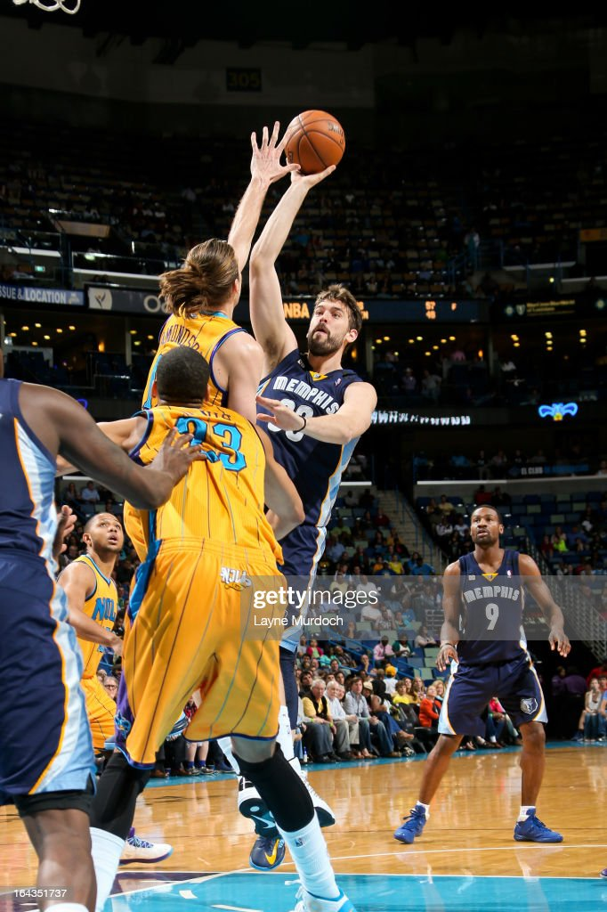 Marc Gasol #33 of the Memphis Grizzlies shoots in the lane against Lou Amundson #17 of the New Orleans Hornets on March 22, 2013 at the New Orleans Arena in New Orleans, Louisiana.