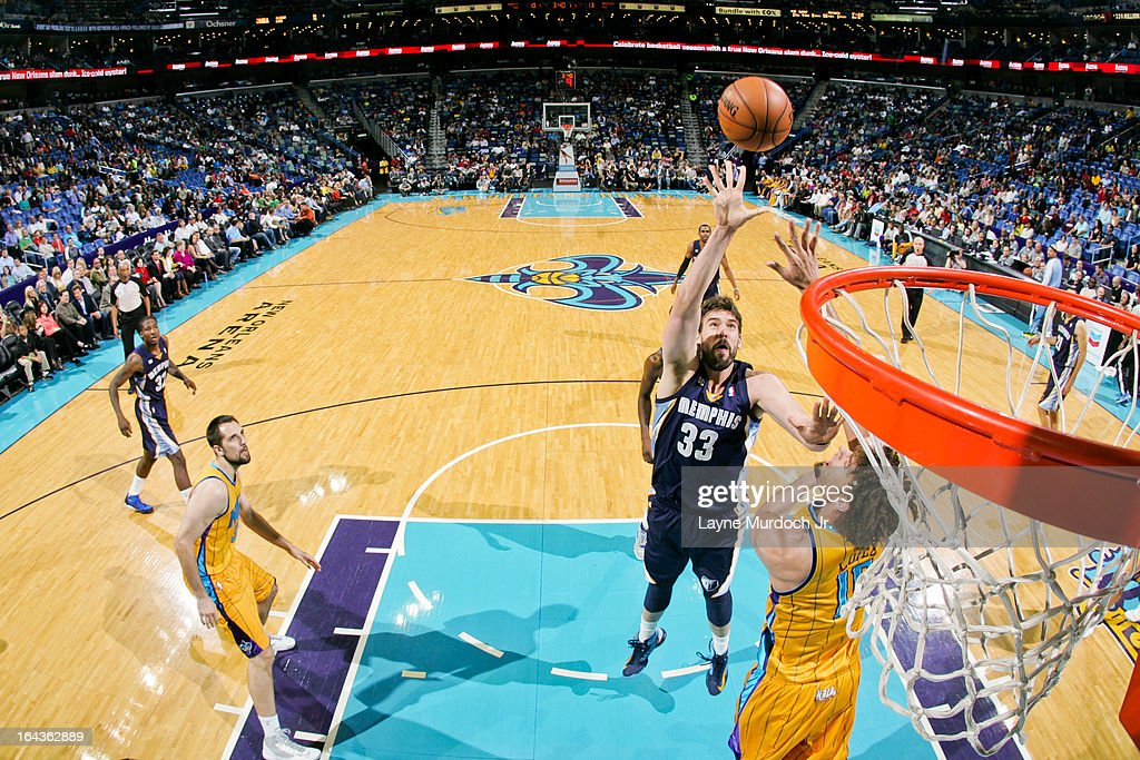<a gi-track='captionPersonalityLinkClicked' href=/galleries/search?phrase=Marc+Gasol&family=editorial&specificpeople=661205 ng-click='$event.stopPropagation()'>Marc Gasol</a> #33 of the Memphis Grizzlies shoots in the lane against <a gi-track='captionPersonalityLinkClicked' href=/galleries/search?phrase=Robin+Lopez&family=editorial&specificpeople=2351509 ng-click='$event.stopPropagation()'>Robin Lopez</a> #15 of the New Orleans Hornets on March 22, 2013 at the New Orleans Arena in New Orleans, Louisiana.