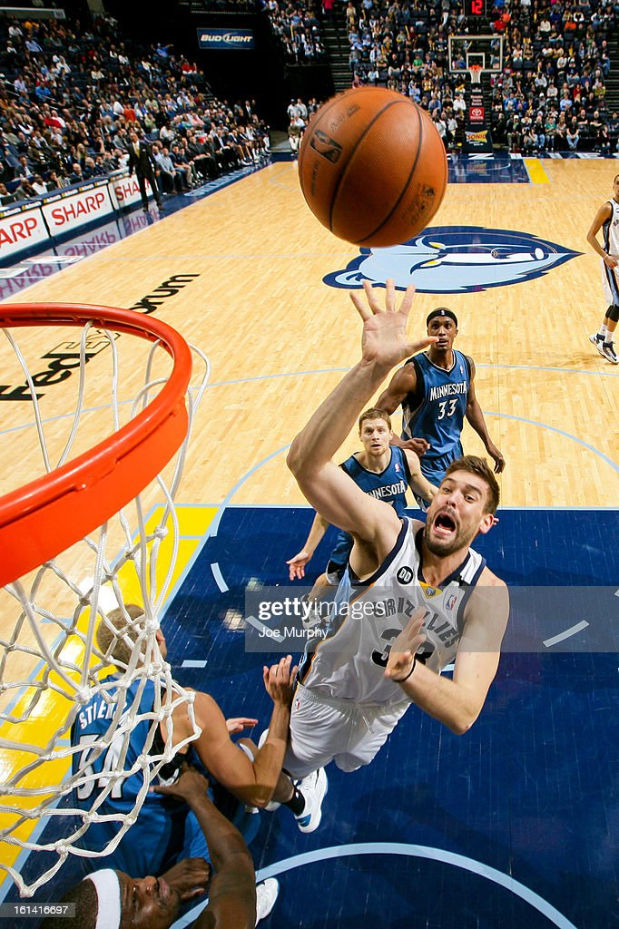 <a gi-track='captionPersonalityLinkClicked' href=/galleries/search?phrase=Marc+Gasol&family=editorial&specificpeople=661205 ng-click='$event.stopPropagation()'>Marc Gasol</a> #33 of the Memphis Grizzlies shoots in the lane against the Minnesota Timberwolves on February 10, 2013 at FedExForum in Memphis, Tennessee.