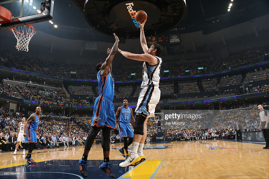 <a gi-track='captionPersonalityLinkClicked' href=/galleries/search?phrase=Marc+Gasol&family=editorial&specificpeople=661205 ng-click='$event.stopPropagation()'>Marc Gasol</a> #33 of the Memphis Grizzlies shoots the ball against the Oklahoma City Thunder in Game Six of the Western Conference Quarterfinals during the 2014 NBA Playoffs on May 3, 2014 at FedExForum in Memphis, Tennessee.