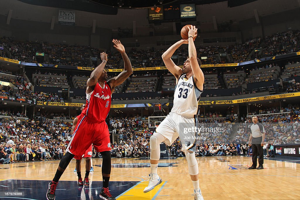 <a gi-track='captionPersonalityLinkClicked' href=/galleries/search?phrase=Marc+Gasol&family=editorial&specificpeople=661205 ng-click='$event.stopPropagation()'>Marc Gasol</a> #33 of the Memphis Grizzlies shoots the ball against the Los Angeles Clippers in Game Three of the Western Conference Quarterfinals during the 2013 NBA Playoffs on April 25, 2013 at FedExForum in Memphis, Tennessee.