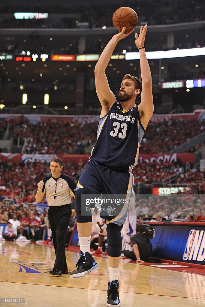 <a gi-track='captionPersonalityLinkClicked' href=/galleries/search?phrase=Marc+Gasol&family=editorial&specificpeople=661205 ng-click='$event.stopPropagation()'>Marc Gasol</a> #33 of the Memphis Grizzlies shoots the ball against the Los Angeles Clippers at Staples Center in Game One of the Western Conference Quarterfinals during the 2013 NBA Playoffs on April 20, 2013 in Los Angeles, California.