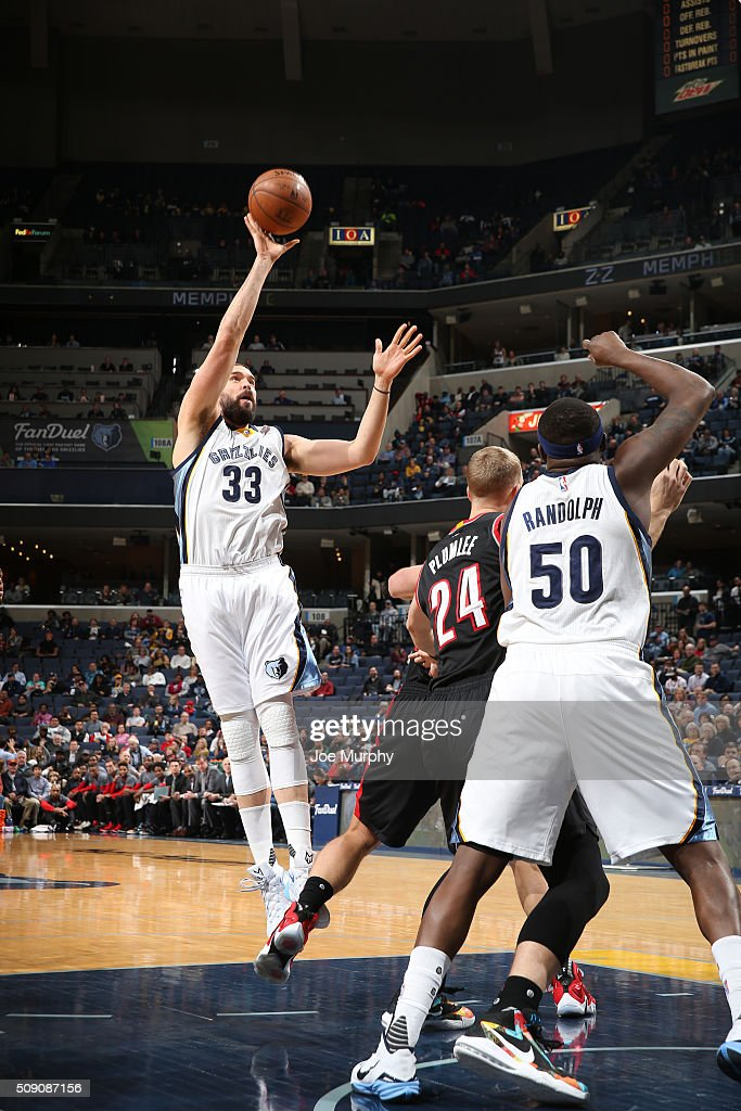 <a gi-track='captionPersonalityLinkClicked' href=/galleries/search?phrase=Marc+Gasol&family=editorial&specificpeople=661205 ng-click='$event.stopPropagation()'>Marc Gasol</a> #33 of the Memphis Grizzlies shoots the ball against the Portland Trail Blazers on February 8, 2016 at FedExForum in Memphis, Tennessee.