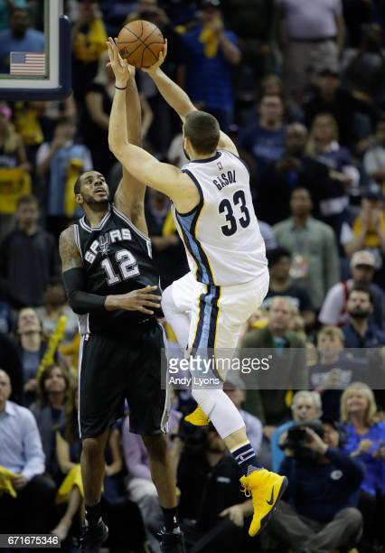Marc Gasol of the Memphis Grizzlies shoots the game winning shot against the San Antonio Spurs in game four of the Western Conference Quarterfinals...