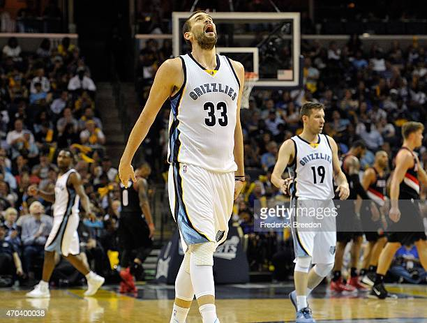 Marc Gasol of the Memphis Grizzlies sighs during a timeout against the Portland Trailblazers in the second half of Game One of the first round of the...
