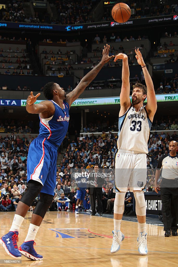 <a gi-track='captionPersonalityLinkClicked' href=/galleries/search?phrase=Marc+Gasol&family=editorial&specificpeople=661205 ng-click='$event.stopPropagation()'>Marc Gasol</a> #33 of the Memphis Grizzlies takes a jump shot against the Los Angeles Clippers in Game Six of the Western Conference Quarterfinals during the 2013 NBA Playoffs on May 3, 2013 at FedExForum in Memphis, Tennessee.