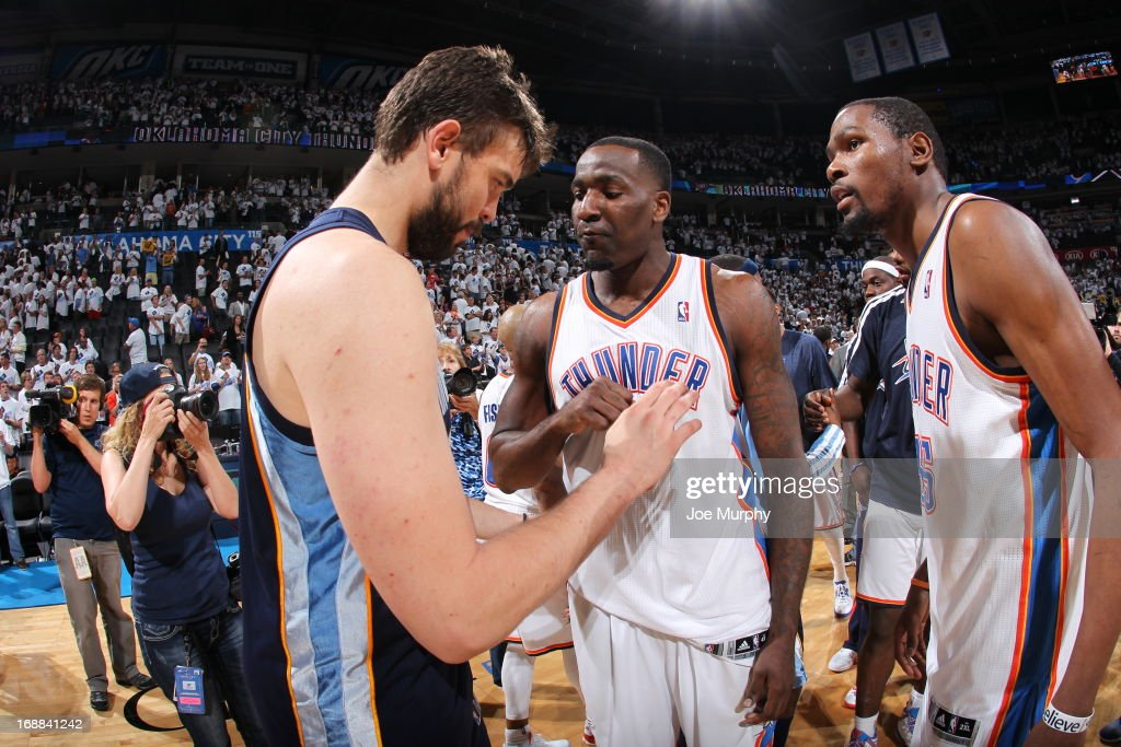 Marc Gasol #33 of the Memphis Grizzlies talks with Kendrick Perkins #5 and Kevin Durant #35 of the Oklahoma City Thunder after Game Five of the Western Conference Semifinals during the 2013 NBA Playoffs on May 15, 2013 at the Chesapeake Energy Arena in Oklahoma City, Oklahoma.