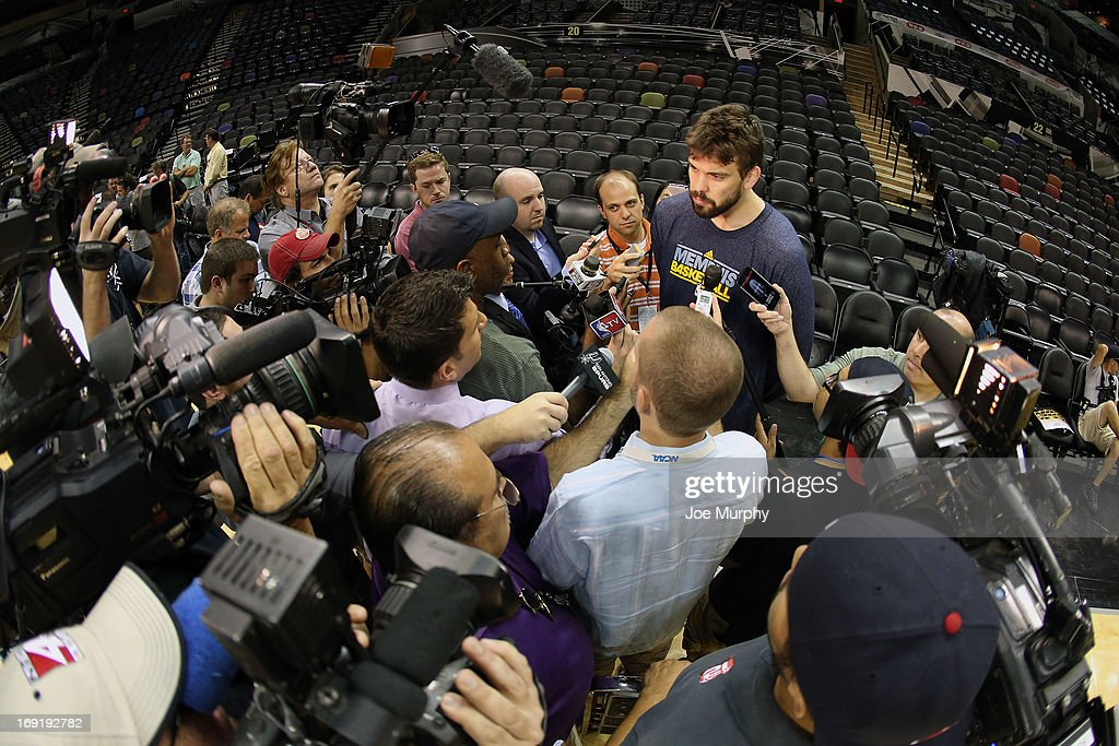 <a gi-track='captionPersonalityLinkClicked' href=/galleries/search?phrase=Marc+Gasol&family=editorial&specificpeople=661205 ng-click='$event.stopPropagation()'>Marc Gasol</a> #33 of the Memphis Grizzlies talks with the media at team practice during the Western Conference Finals during the 2013 NBA Playoffs on May 20, 2013 at the AT&T Center in San Antonio, Texas.