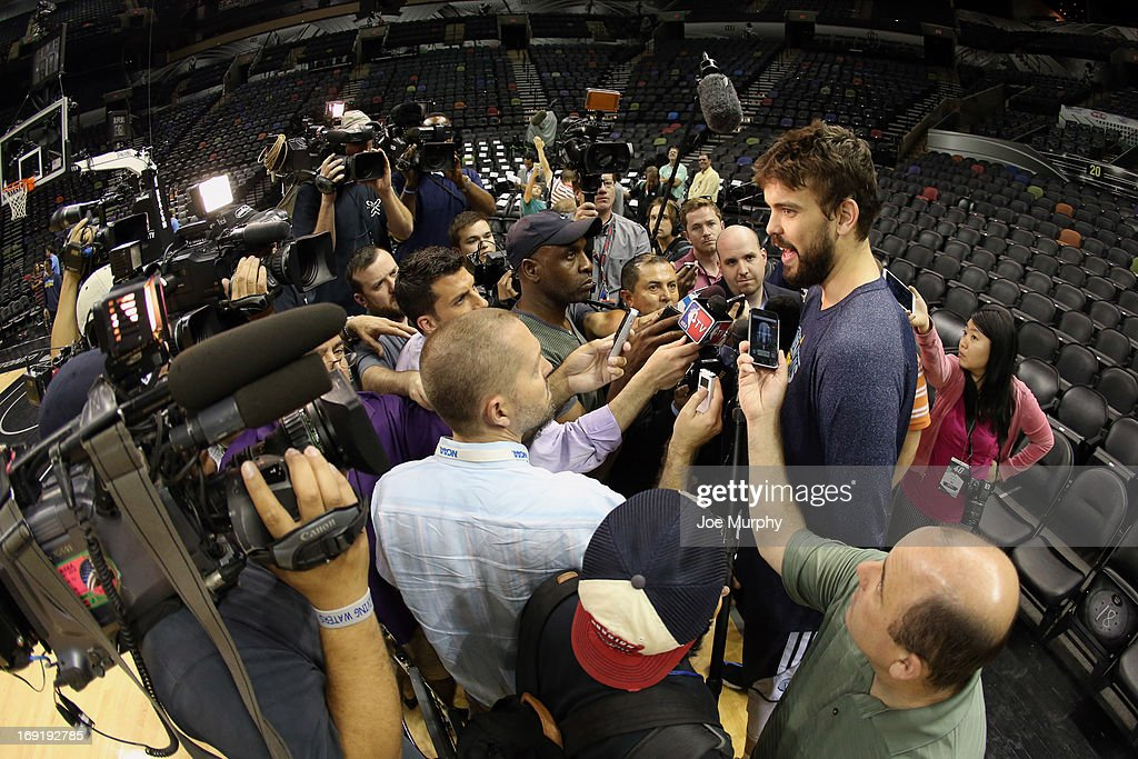 Marc Gasol #33 of the Memphis Grizzlies talks with the media at team practice during the Western Conference Finals during the 2013 NBA Playoffs on May 20, 2013 at the AT&T Center in San Antonio, Texas.