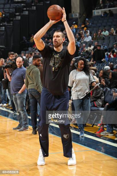 Marc Gasol of the Memphis Grizzlies warms up before the game against the Phoenix Suns on February 8 2017 at FedExForum in Memphis Tennessee NOTE TO...