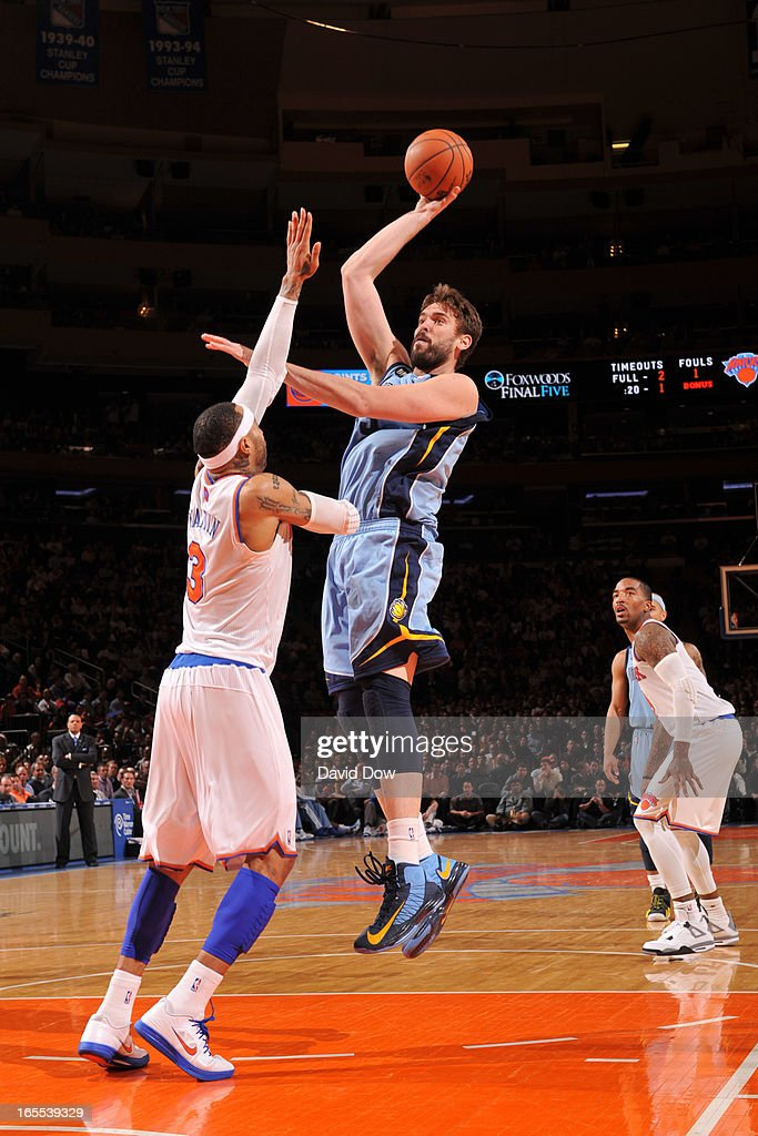 <a gi-track='captionPersonalityLinkClicked' href=/galleries/search?phrase=Marc+Gasol&family=editorial&specificpeople=661205 ng-click='$event.stopPropagation()'>Marc Gasol</a> #33 of the New York Knicks shoots against <a gi-track='captionPersonalityLinkClicked' href=/galleries/search?phrase=Kenyon+Martin&family=editorial&specificpeople=201522 ng-click='$event.stopPropagation()'>Kenyon Martin</a> #3 of the New York Knicks on March 27, 2013 at Madison Square Garden in New York City.