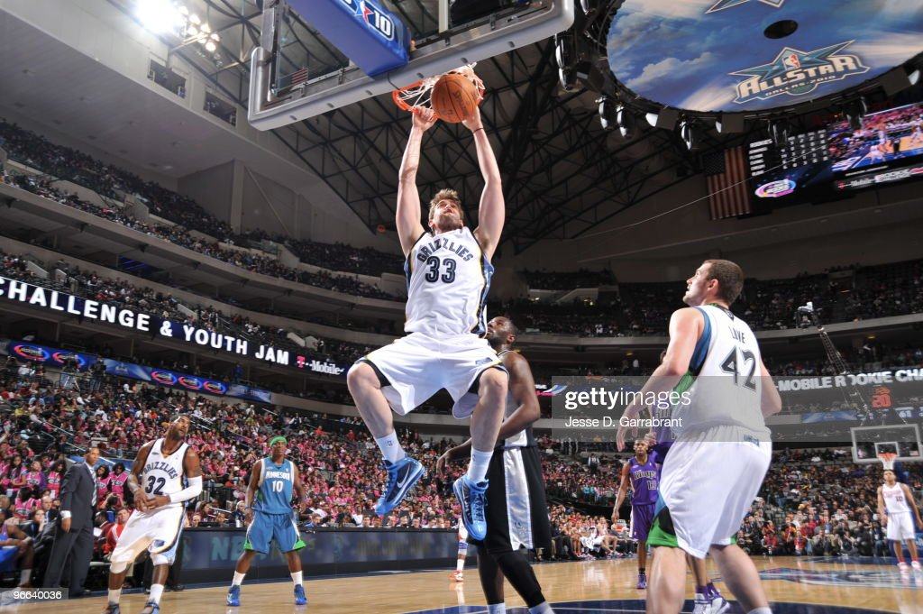 Marc Gasol of the Sophmore team dunks against the Rookie team during 2009 TMobile Rookie Challenge and Youth Jam on February 12 2010 at the American...
