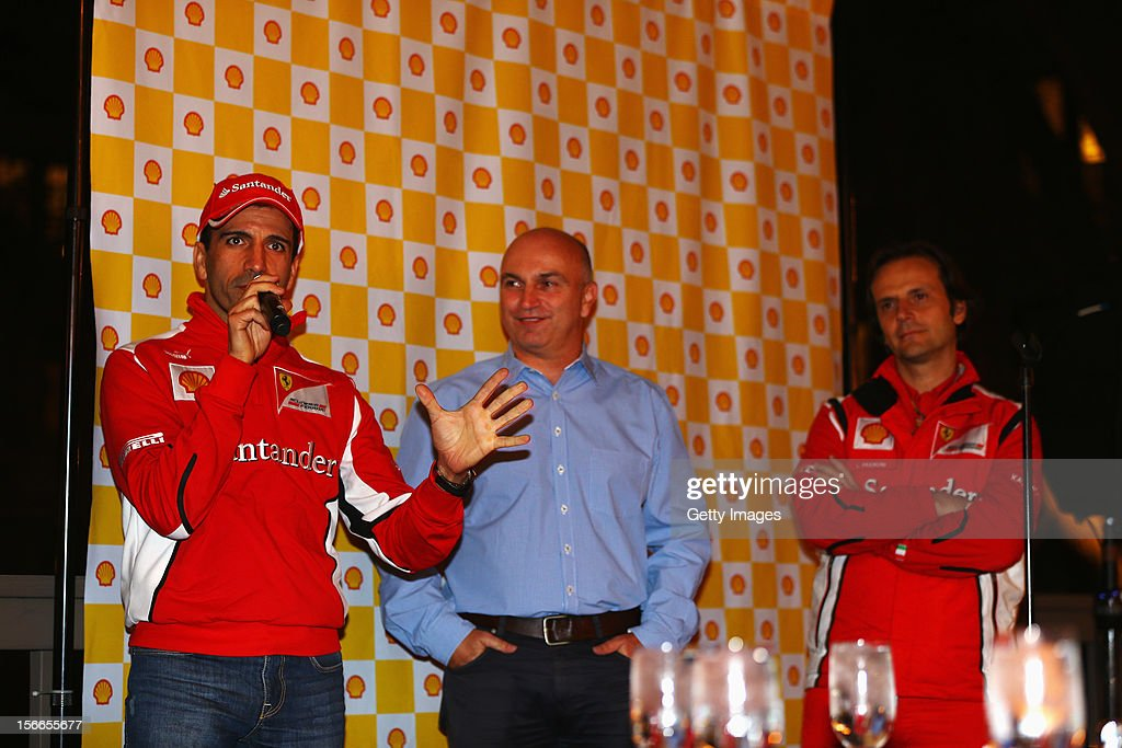 <a gi-track='captionPersonalityLinkClicked' href=/galleries/search?phrase=Marc+Gene&family=editorial&specificpeople=217824 ng-click='$event.stopPropagation()'>Marc Gene</a> and Luigi Fraboni of Ferrari talk to guests at a Shell event following qualifying for the United States Formula One Grand Prix on November 17, 2012 in Austin, Texas.
