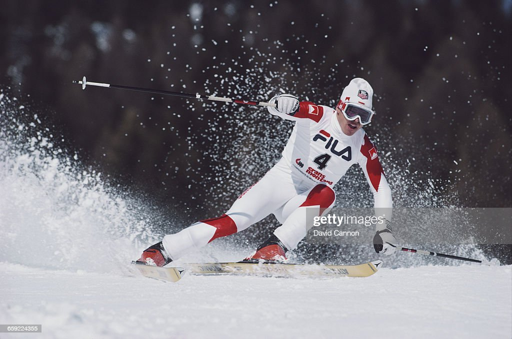 Marc Girardelli of Luxembourg ski's during the International Ski Federation Men's Giant Slalom at the FIS Alpine World Ski Championship on 4 February...