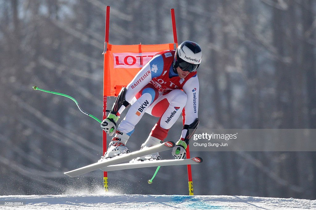Marc Gisin of Switzerland competes in the Men's Super G Finals during the 2016 Audi FIS Ski World Cup at the Jeongseon Alpine Centre on February 7, 2016 in Jeongseon-gun, South Korea.