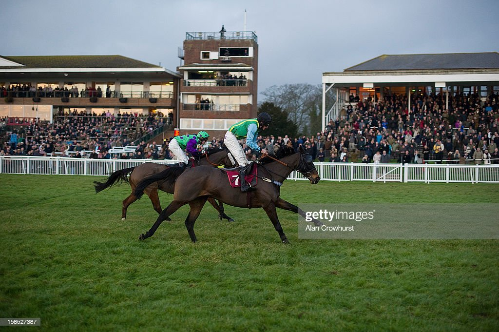 Marc Goldstein riding Quartz Du Montceau win The 'Save The Last Race' For Eastwell Manor Handicap Steeple Chase, the last race of the day during the last meeting to be held after 114 years of racing at Folkestone racecourse on December 18, 2012 in Folkestone, England.