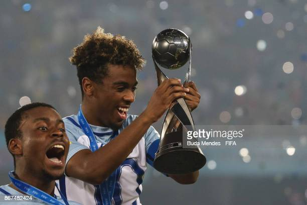 Marc Guehi and Angel Gomes of England celebrate after the FIFA U17 World Cup India 2017 Final match between England and Spain at Vivekananda Yuba...