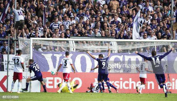 Marc Heider of Osnabrueck scores his teams second goal during the DFB Cup match between VfL Osnabrueck and Hamburger SV at Osnatel Arena on August 13...